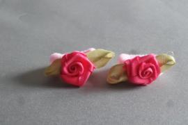 Baby elastiekje met roosje 'roze/fuchsia'
