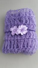 Set newborn wrap + bijpassend haarbandje 'paars'