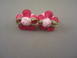 Baby elastiekje roze met fuchsia bloem/roosje