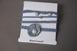 Set elastieken  blauw/grijs'