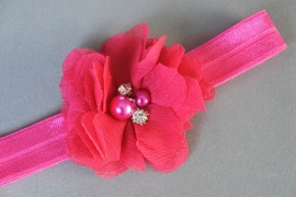 Newborn haarbandje bloem/parel 'fuchsia'
