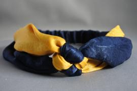 Haarband geknoopt 'navy/oker