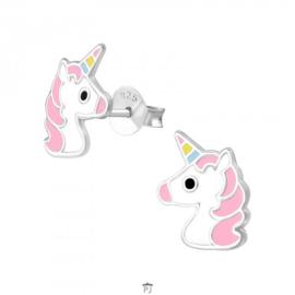 Zilveren kinder oorbelletjes 'unicorn'