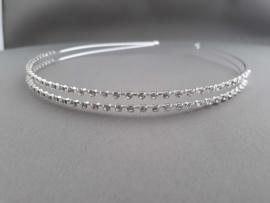 Haarband/ tiara dubbele rij steentje