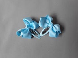 Kinder haarknipje met strik 'licht blauw'