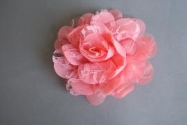 Grote bloem chiffon en kant 'koraal'