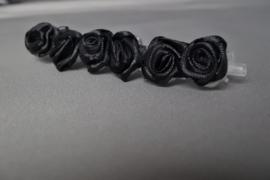 Haarklemmetjes met roosje 'zwart'