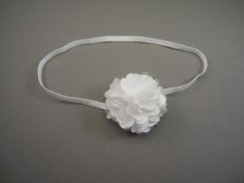 Smal haarbandje wit met satijn/tule bloemetje