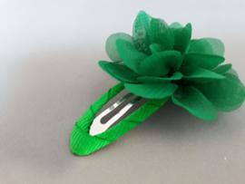 Haarspeld met chiffon bloemetje (groen)