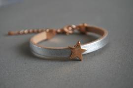 Leren armbandje 'littel star/ silver'