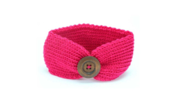 Gebreid haarbandje met knoop 'fel roze'