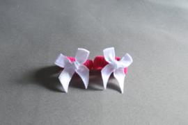 Baby elastiekje met strikje 'fuschsia/wit'