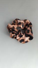 Scrunchie panterprint 'bruin'