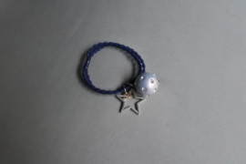 Elastiek met ster en parel 'blauw'