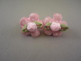 Baby elastiekje roze bloem/roosje