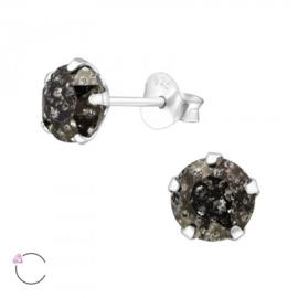Zilveren kinder oorbellen 'swarovski/zwart'