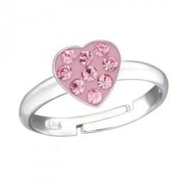 Zilveren kinder ringetje hartje/roze