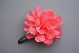 Kinder haarknipje met chiffon bloem 'koraal'