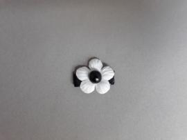 Baby klittenband haarspeldje zwart met creme bloemetje