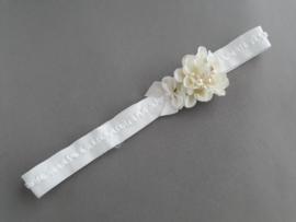 Baby/peuter haarbandje met bloem/strik 'offwhite'