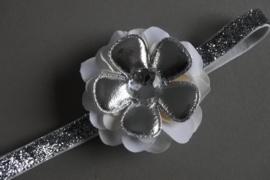 Baby/ peuter haarbandje met bloemcorsage 'zilver'