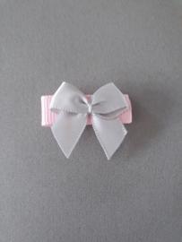 Baby klittenband haarspeldje 'roze met grijs strikje'