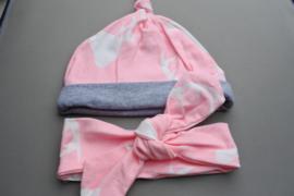 Mutsje + haarbandje met knoop 'roze/grijs'