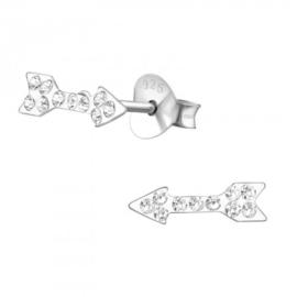 Zilveren kinder oorbelletjes 'pijl'