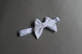 Baby/ peuter haarbandje met strik fluweel 'wit'