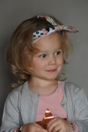 Geknoopt haarbandje  'roze/grijs/printje'