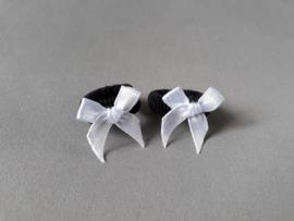 Baby elastiekje met strikje (zwart/wit)