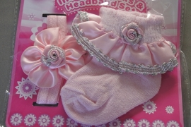 Setje sokjes + bijpassend haarbandje roze/zilver