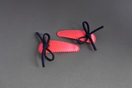 Kinder haarknipje fel roze' strikje/donkerblauw'