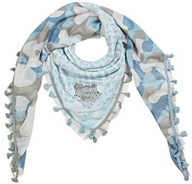 Vierkante sjaal met ster (blauw)