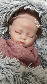 Newbornset wrap + bijpassend haarbandje 'roze'