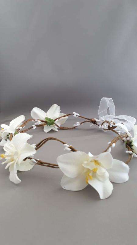 Bloemen haarband 'creme'