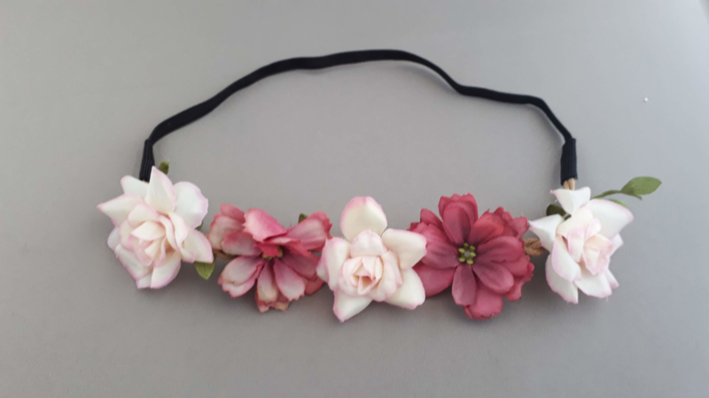 Bloemen haarbandje  'roze tinten'