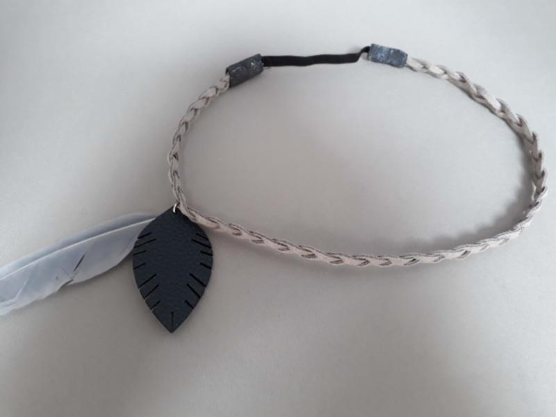 Gevlochten haarbandje 'grijs/blauw'