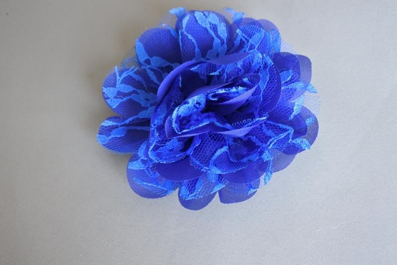 Grote bloem chiffon en kant 'royal blue'
