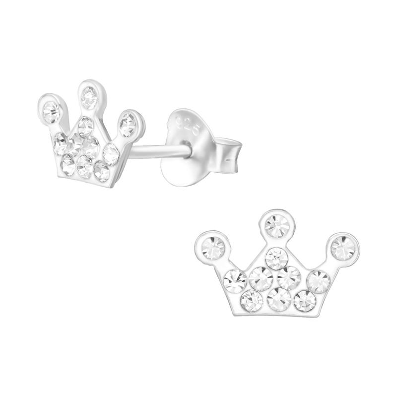 Zilveren oorbelletjes 'kroontje'