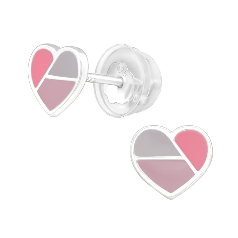 Zilveren kinderoorbelletjes 'hartjes'
