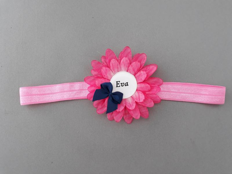Haarbandje met naam ''roze/fuchsia