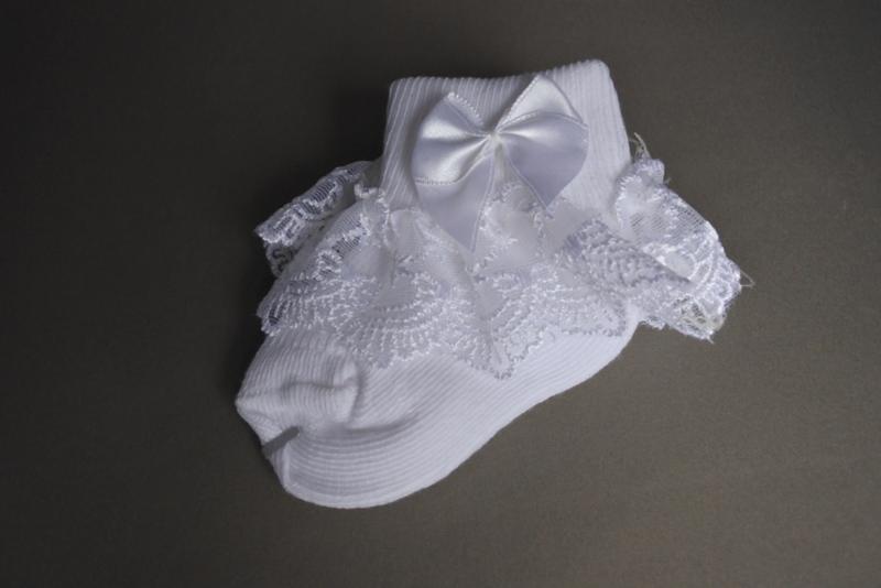 Baby sokjes met kant 'wit' 0-6mnd