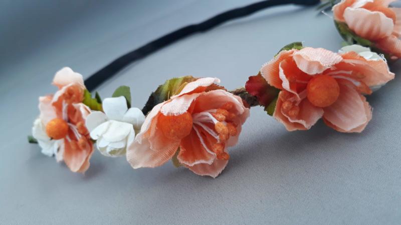 Bloemen haarbandje 'zalm/oranje'