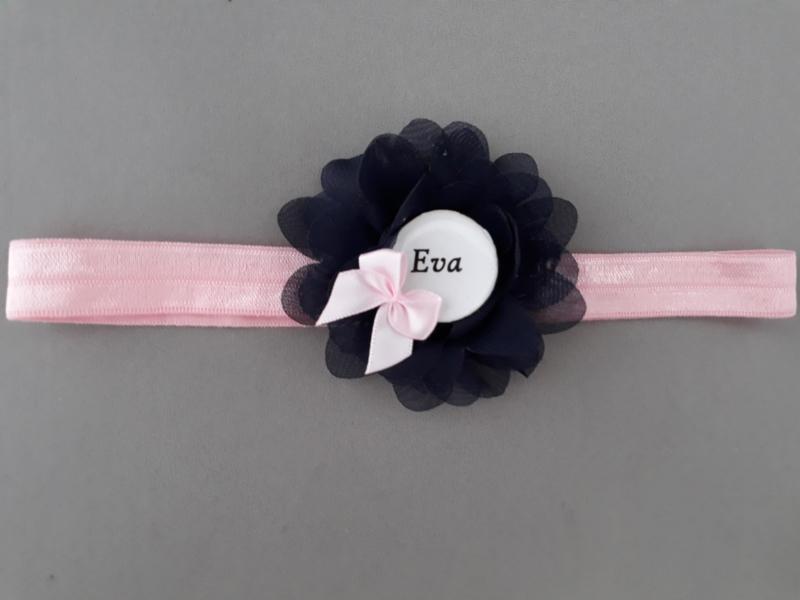 Haarbandje met naam 'roze/blauw'
