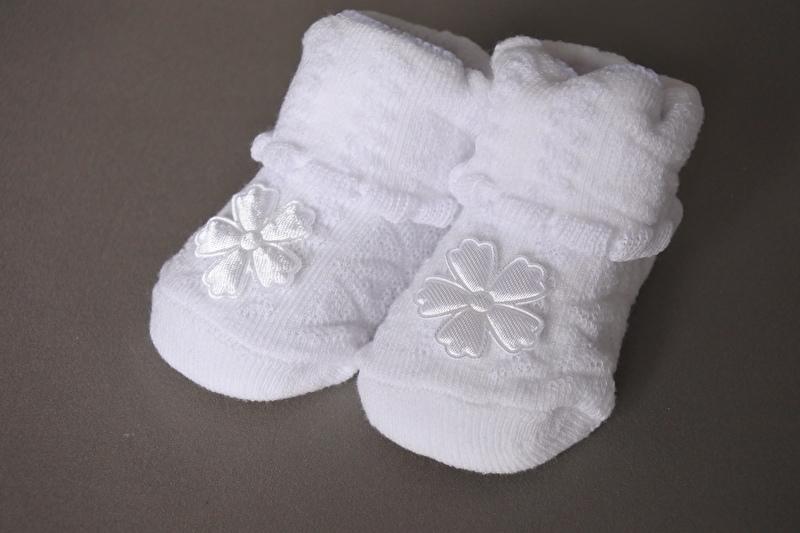 Baby sokjes wit 'bloem'