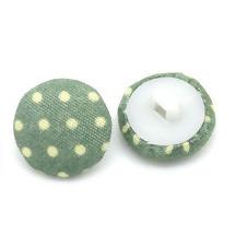 Stoffen knoop met stippen groen 17 mm