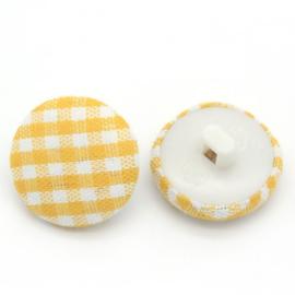 Stoffen knoop met ruitmotief geel 14 mm
