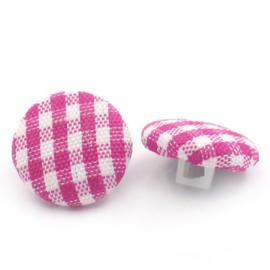 Stoffen knoop met ruitmotief roze 14 mm