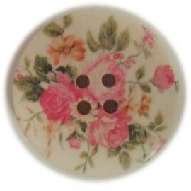Houten knoop met bloemenprint
